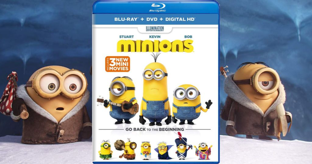Minions DVD with screen play in background