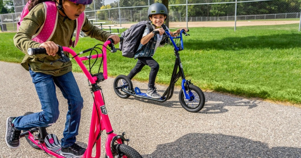 kids on Mongoose scooters