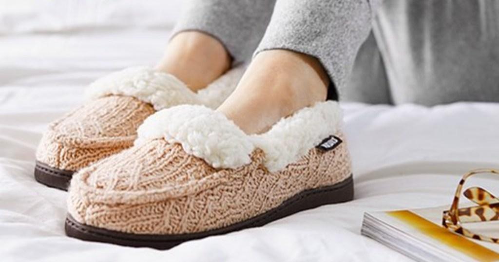 pink women's muk luks slippers