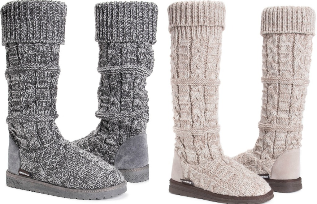 Two colors of Muk Luks cable knit boots