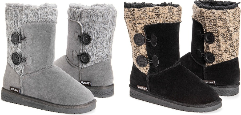 Muk Luks Women's Matilda Boots in gray and black with beige