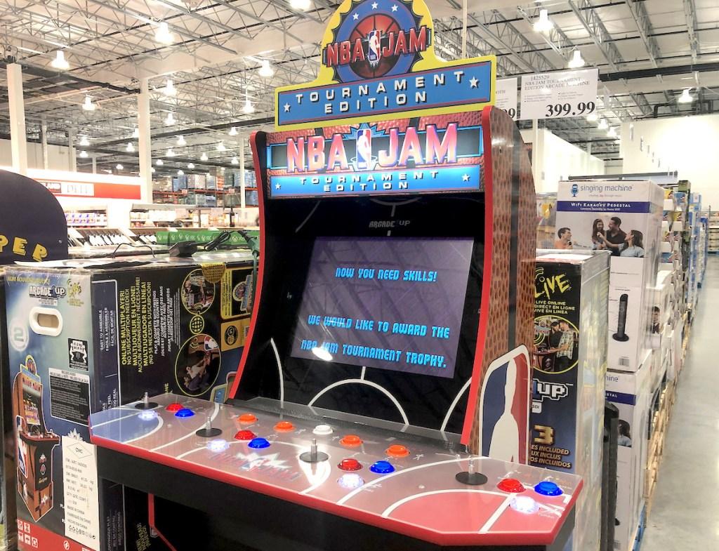 NBA Jam arcade machine sitting in store