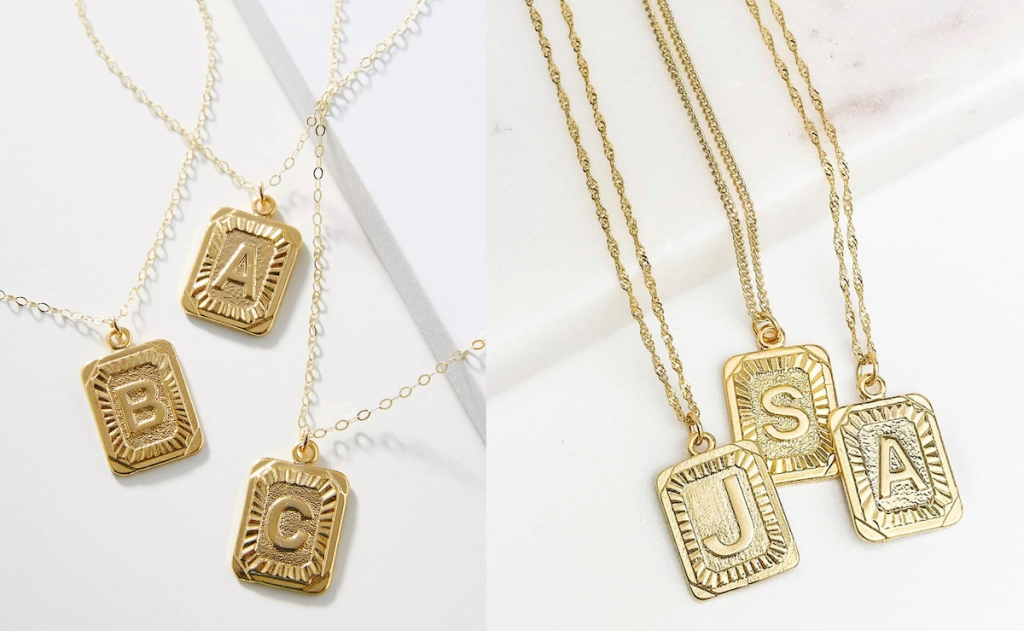 anthropologie dupe side by side comparison of gold letter monogram necklaces