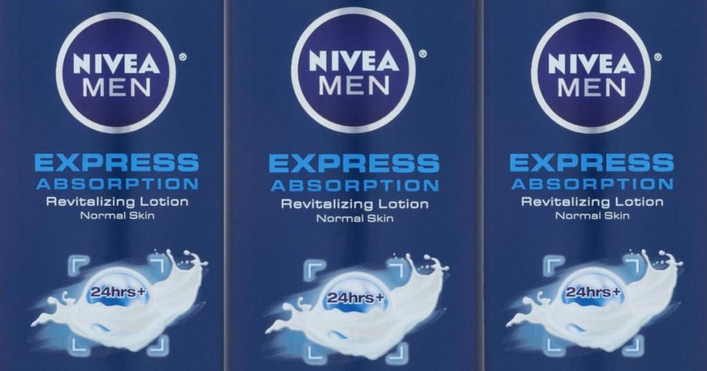 3 bottles of nivea men expess absorption lotion