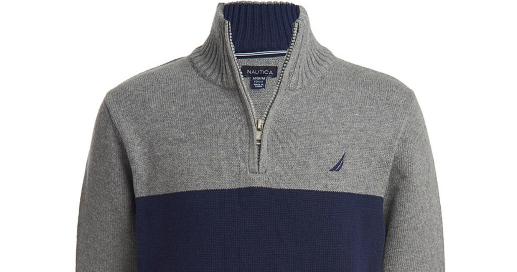 Nautica sweater for boys in gray and blue