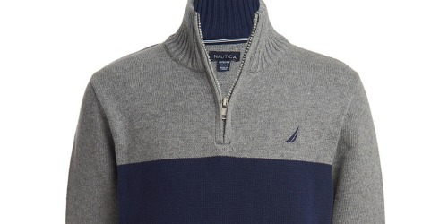 Nautica Boys Quarter-Zip Pullover Sweaters Just $12.99 at Zulily