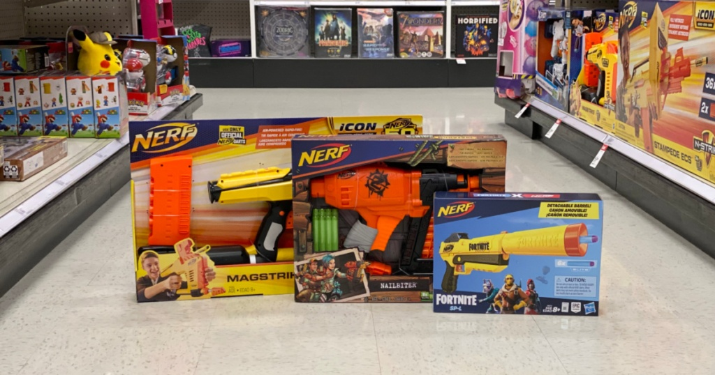 nerf toys on floor at target