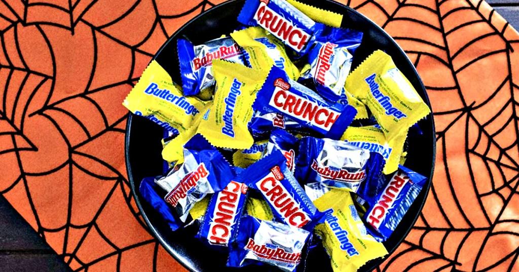 Bowl of Nestle Crunch, Butterfinger, Baby Ruth on Halloween Table Runner