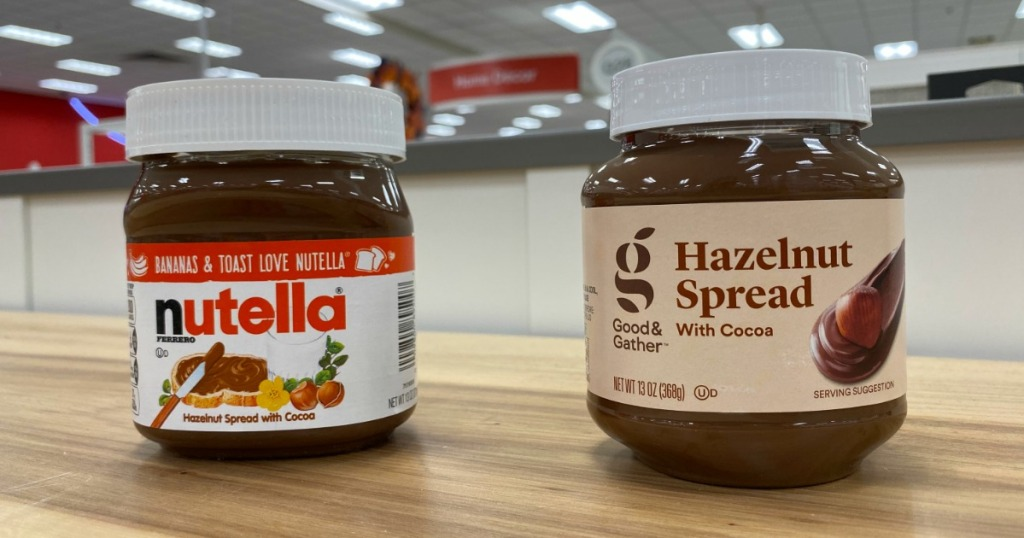 Jars of Nutella and Good & Gather Hazelnut Spread with Cocoa