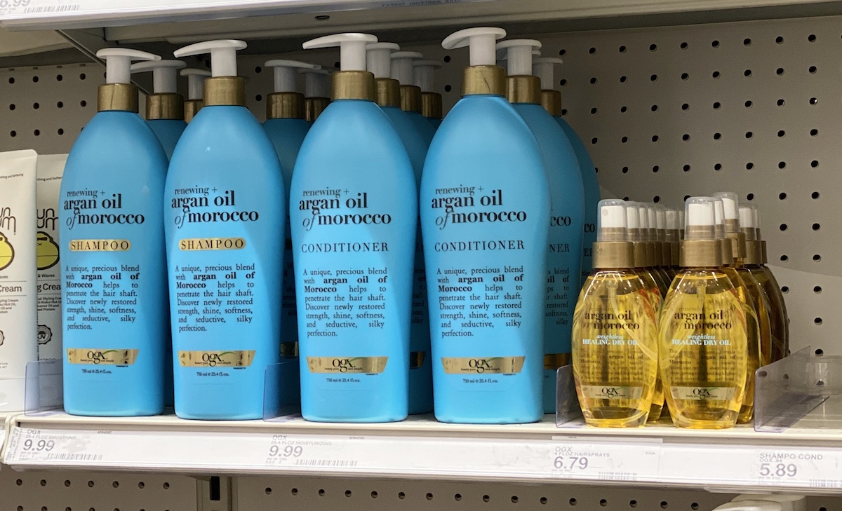 OGX Shampoo and Conditioner on shelf at Target