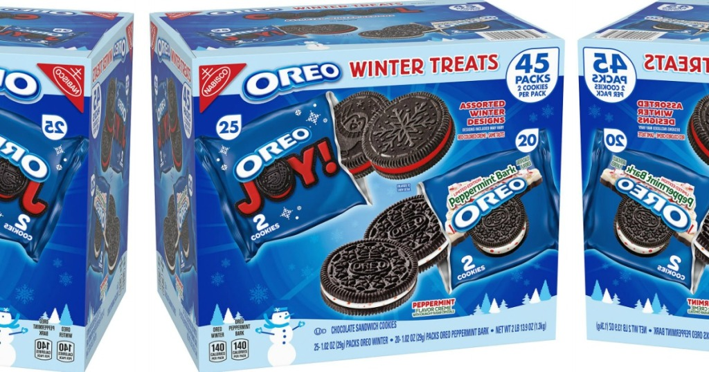 Boxes of OREO Cookie Winter Treats Variety Packs