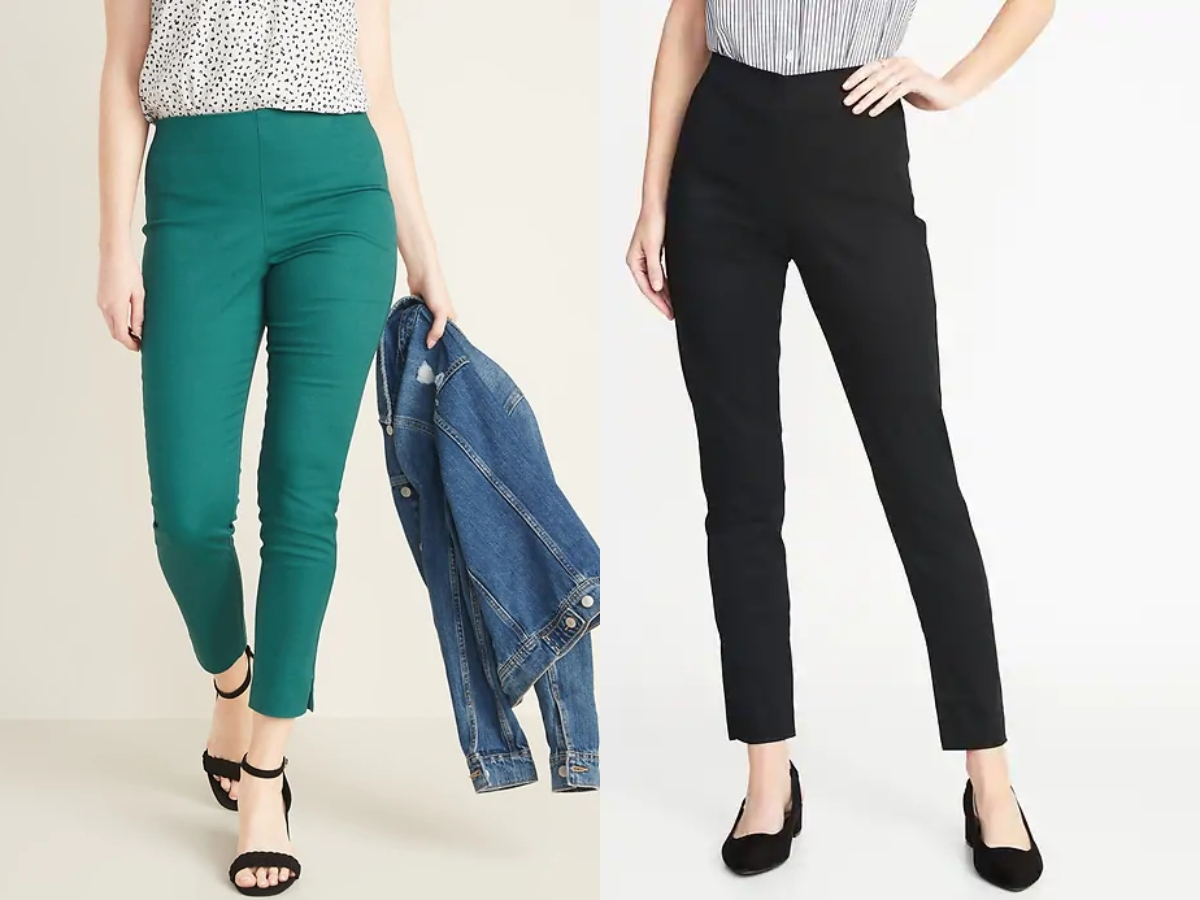 Old Navy Women's skinny pants. Two models, one wearing green pants the other in black.