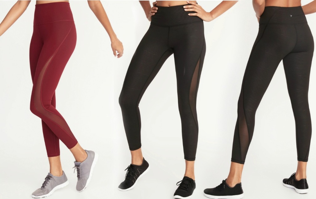 Old Navy Women's Compression Leggings at three angles in two colors