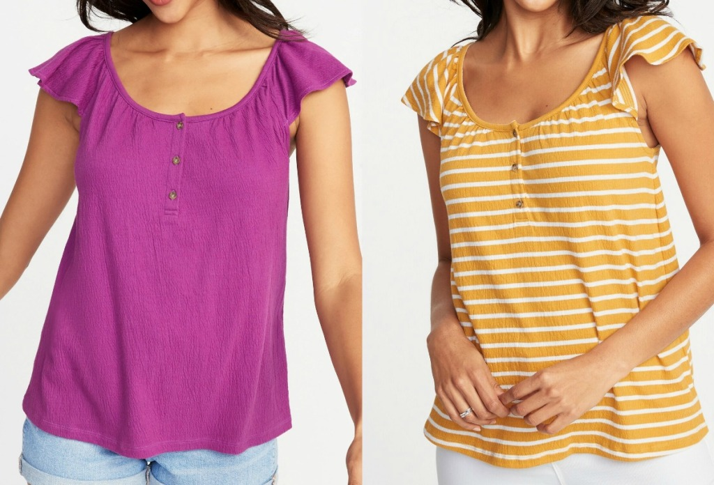 Woman wearing Old Navy Women's Relaxed Flutter-Sleeve Textured Top in two colors and styles
