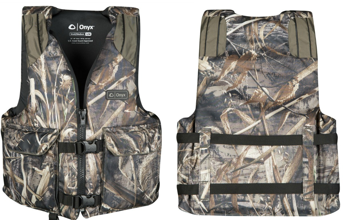 Camo print life jacket - front and back view
