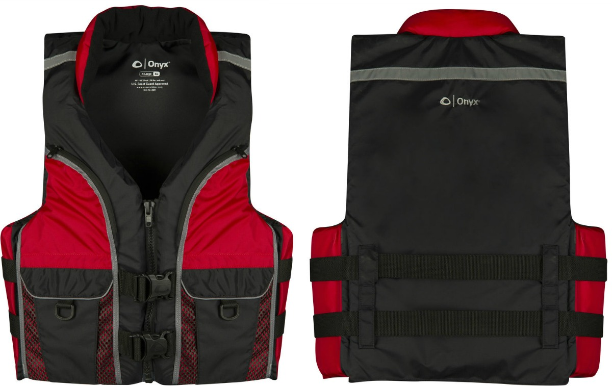 Red and Black life jacket - front and back view
