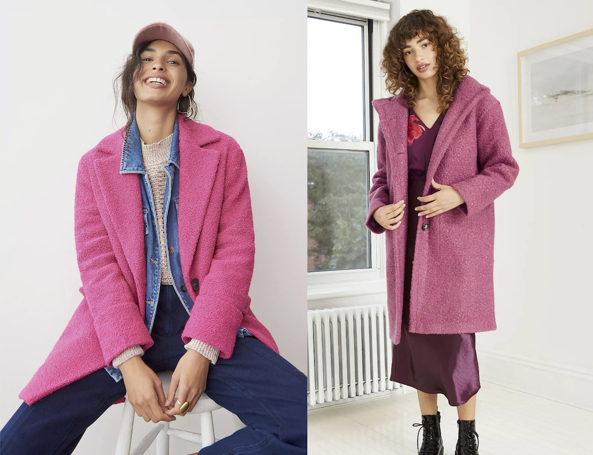 anthropologie dupe side by side of two women wearing bright pink jackets