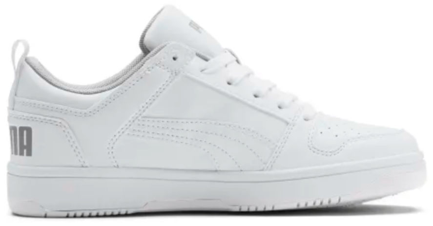 white sneakers with puma writing on back