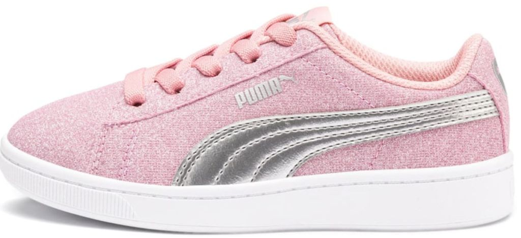 pink glitter puma shoe with grey detail on side and white sole