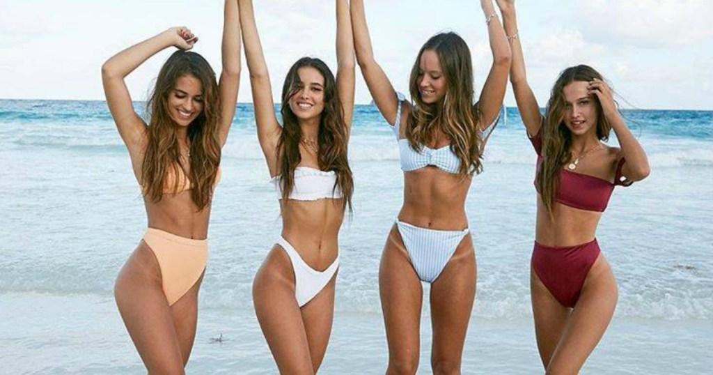 Four women wearing PacSun swimwear separates
