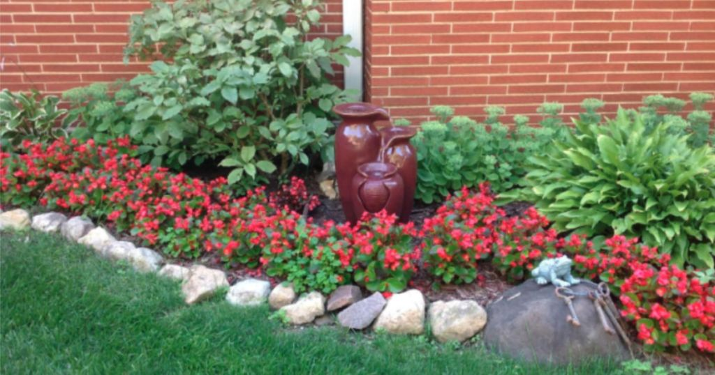 potted fountain in garden area