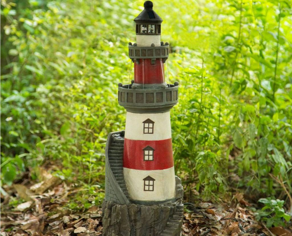 lighthouse water fountain water feature in woods