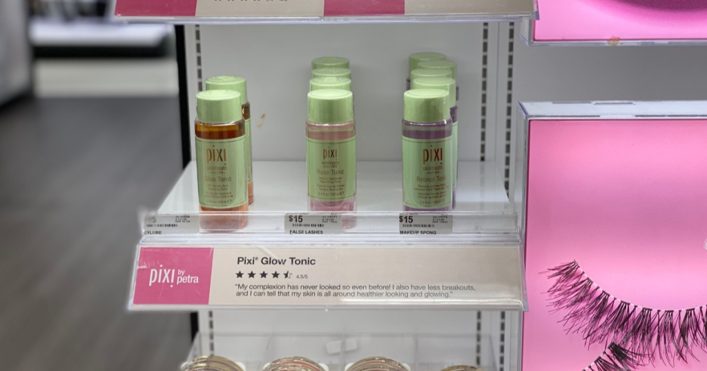 bottles of pixi skintreats tonic on shelf at target