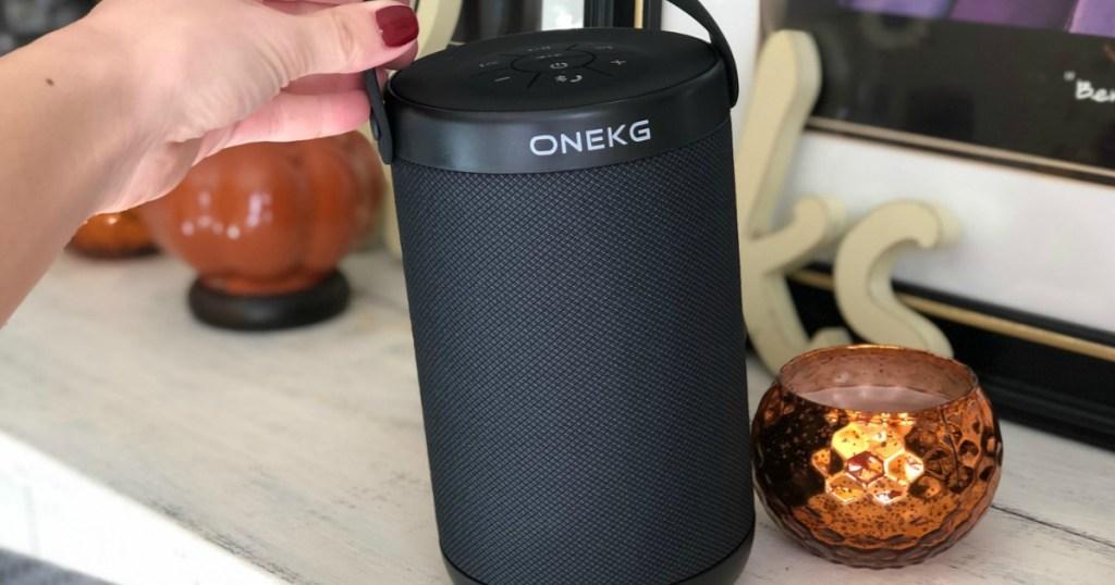 Potable Bluetooth Speaker on shelf in hand
