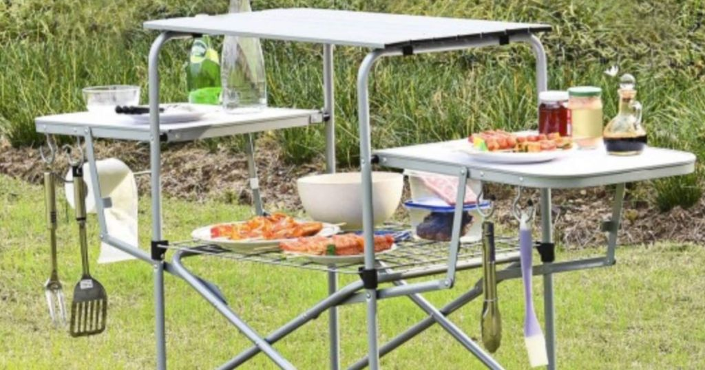Portable Folding Grilling Table w_ Carrying Case on grass
