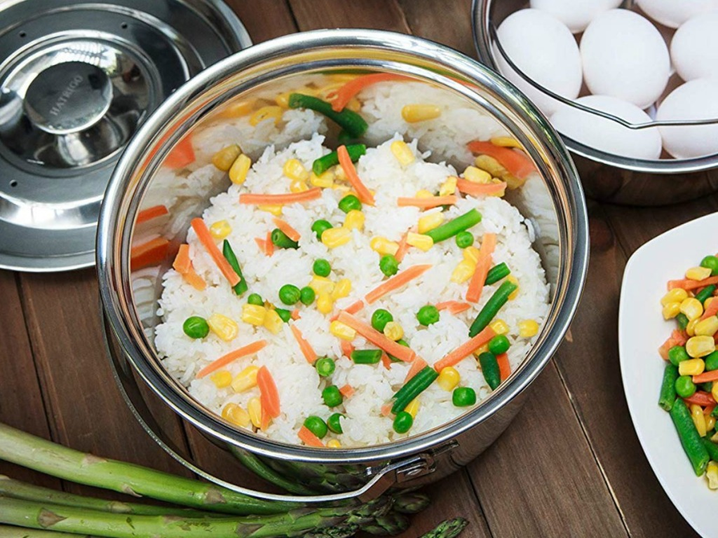 Steamer bowl for pressure cooker with rice and veggies