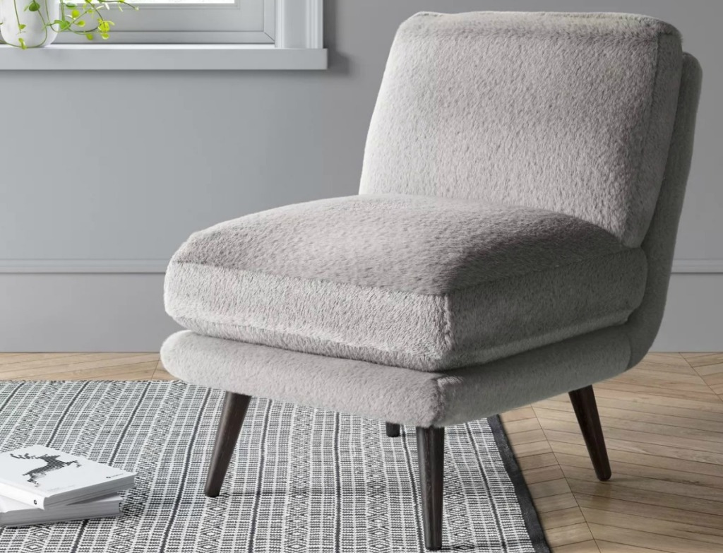 Project 62 Harper Faux Fur Slipper Chair in gray in living room setup