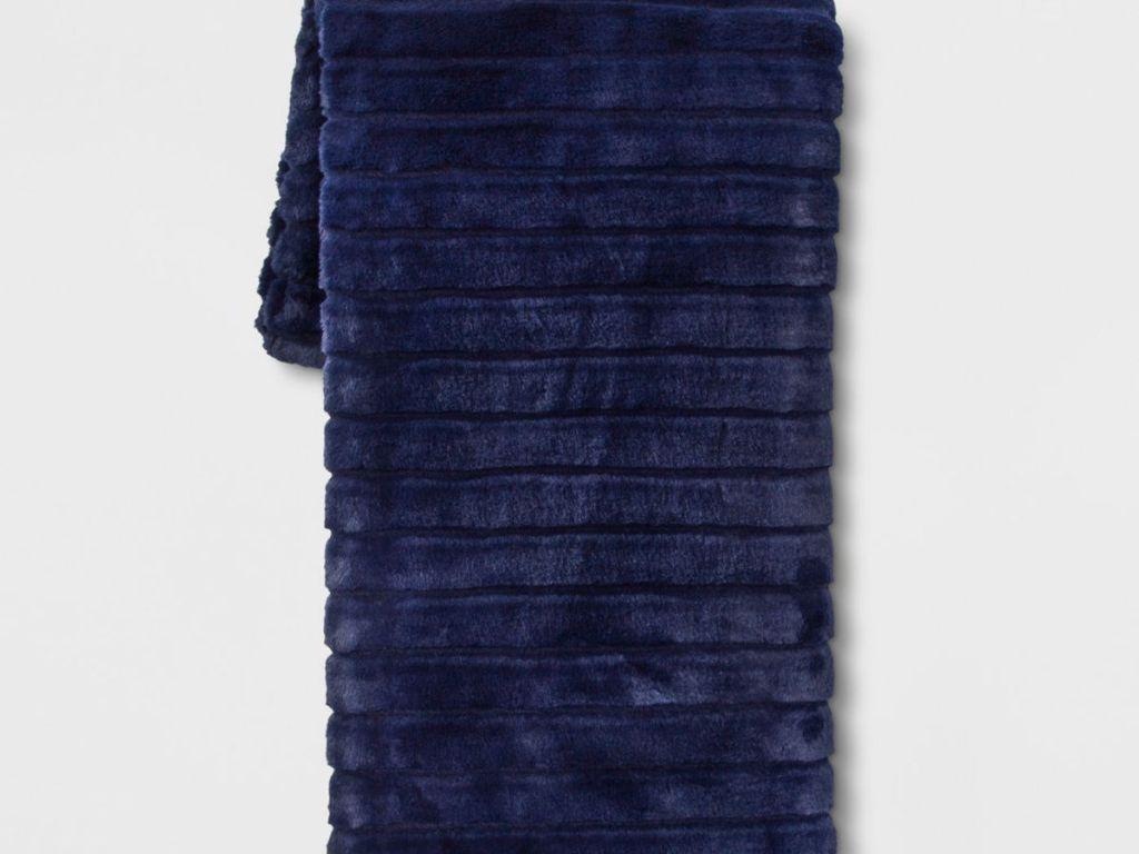textured blue plush throw blanket