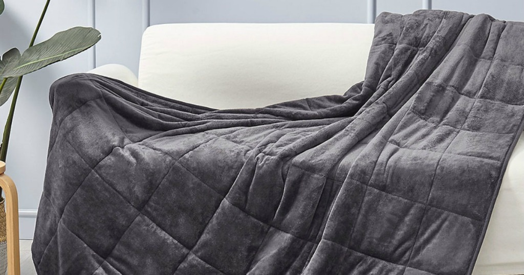 Puredown Weighted Blanket on Zulily on white sofa