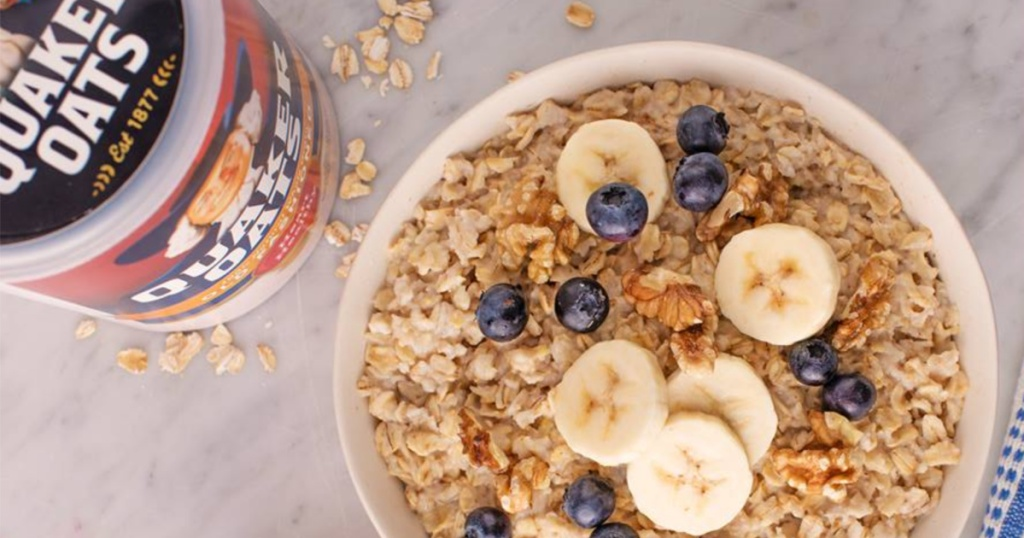 Quaker Oats in bowl with fruit