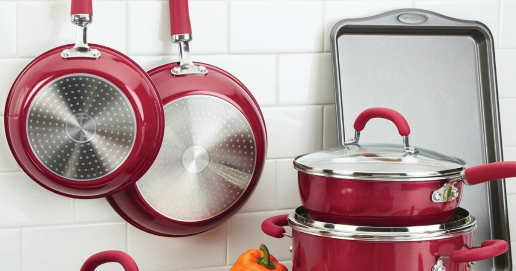 Rachael Ray Cookware Set in kitchen