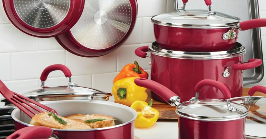Rachael Ray Cookware set on stove