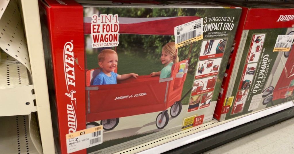 radio flyer wagon in box at store