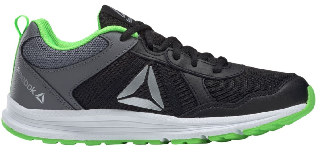 black and grey shoe with white and green sole