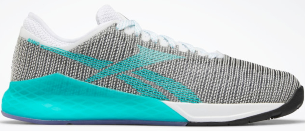 Gray and teal adult running shoe