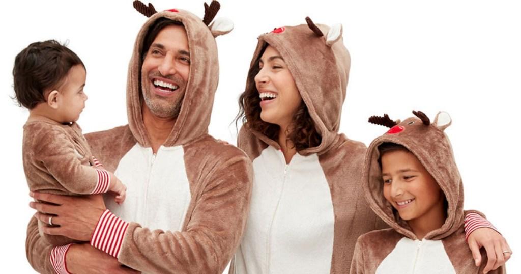 people wearing Reindeer Family Pajamas