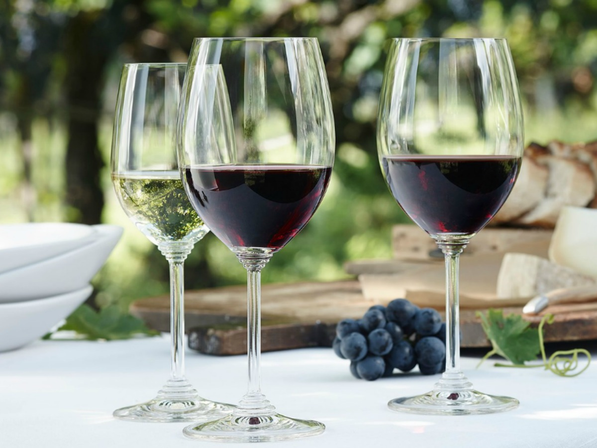 Riedel Wine Stems with red wine inside on a table