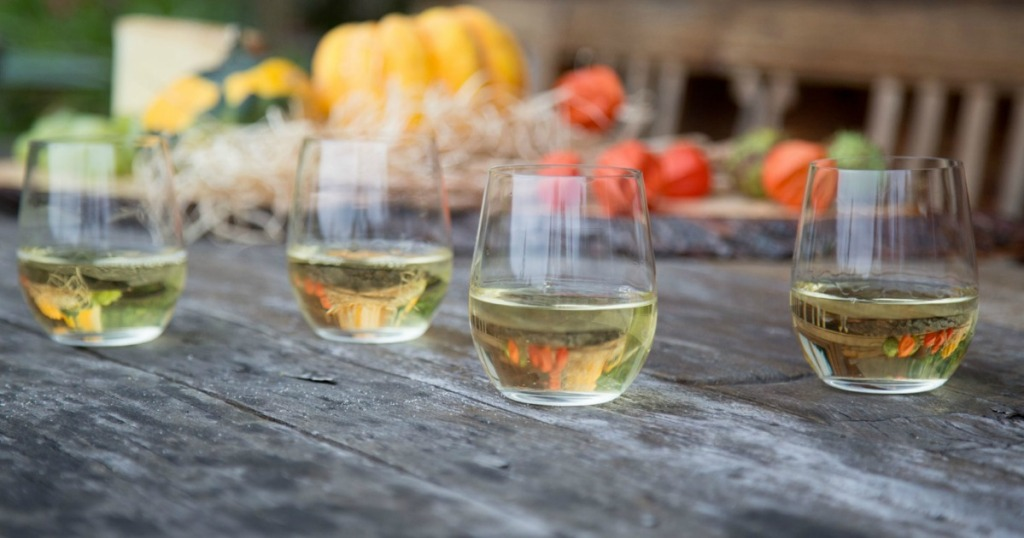 Riedel Wine Tumblers on table with white wine