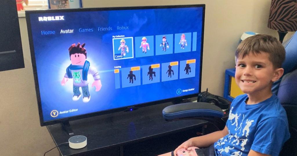 Boy Playing Roblox Video Game