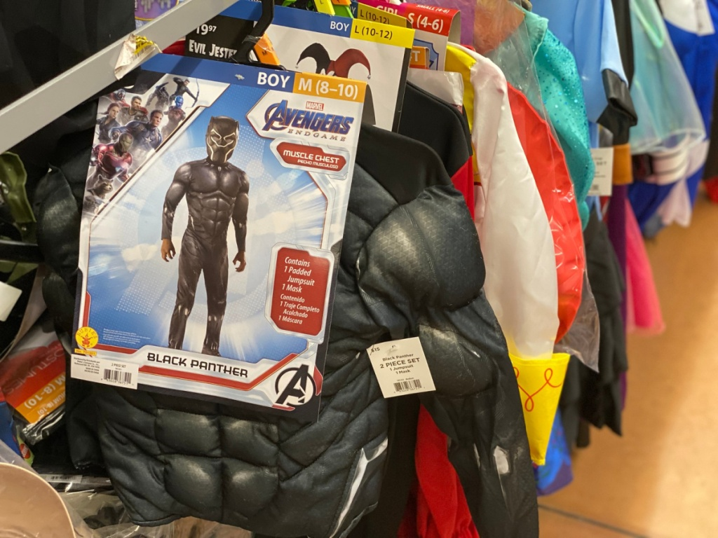 Marvel Avengers black panther costume hanging in store