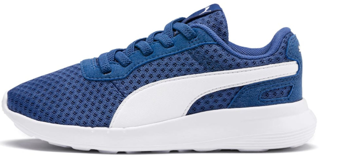 blue sneakers white sole and detail on side