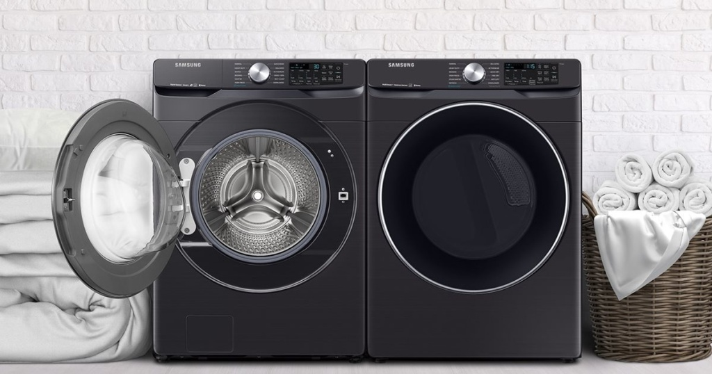 front-load washer and dryer with door on washer open