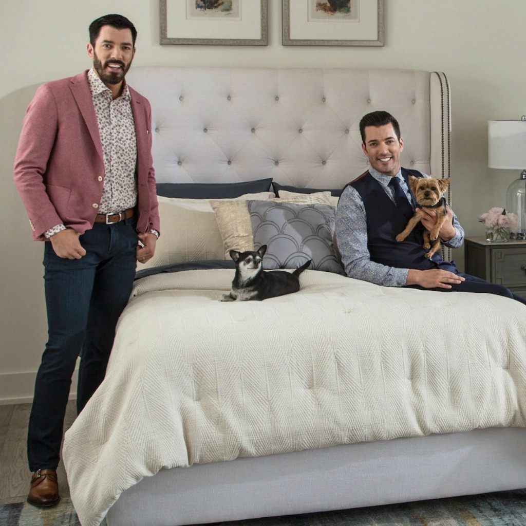 Scott Living Luxe Deco Fan Comforter Set in ivory color on bed with the Scott brothers and their dogs