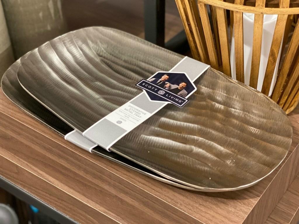 Scott Living Oasis Matte Silver Metal Oval Platter on display at Kohl's