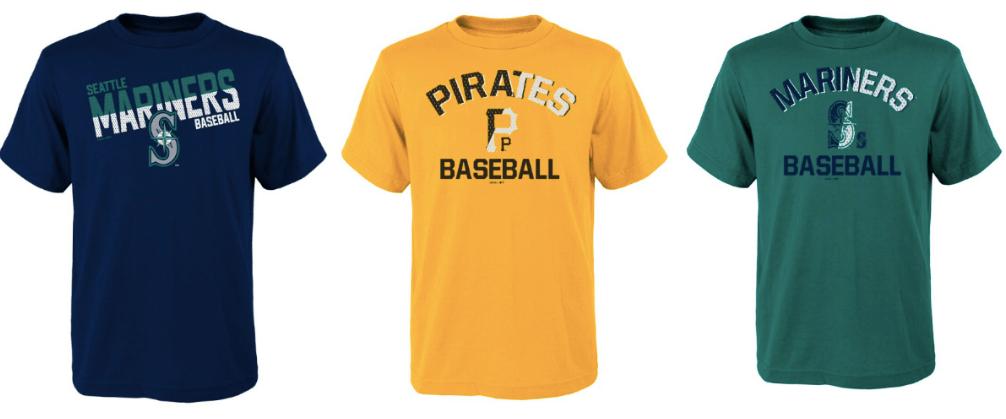 three MLB T-shirts in a row