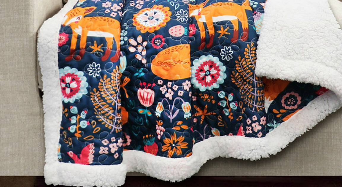 sherpa throw blanket with fox and floral print